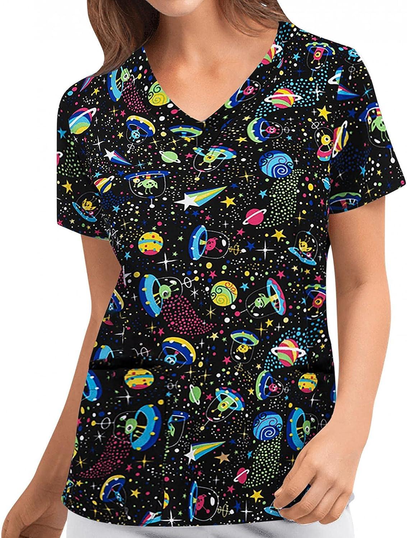 xoxing Womens Tops Casual V Neck Cute Animal Print Short Sleeve T Shirts Working Uniform Blouse Shirt Loose Tunic Tee