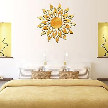 Girasole Acrilico Specchio 3D Rimovibile Wall Sticker Effetto Specchio Adesivo Per Camera da letto Sfondo TV Parete Decorazione Domestica