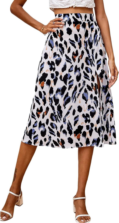 Milumia Women's Casual High Waist Slit Hem All Over Print A Line Midi Skirt