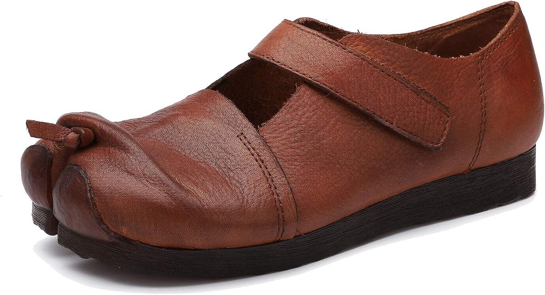 Huegu Frühjahr und Sommer Flache Schuhe für Damen Echtes Leder weiche Sohle Bequeme Loafer Flats Geschlossene Zehen Flip Flops Casual Mokassins mit Klettverschluss  | Verschiedene Arten Und Die Styles