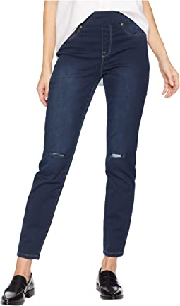 Distressed Pull-On Jeggings