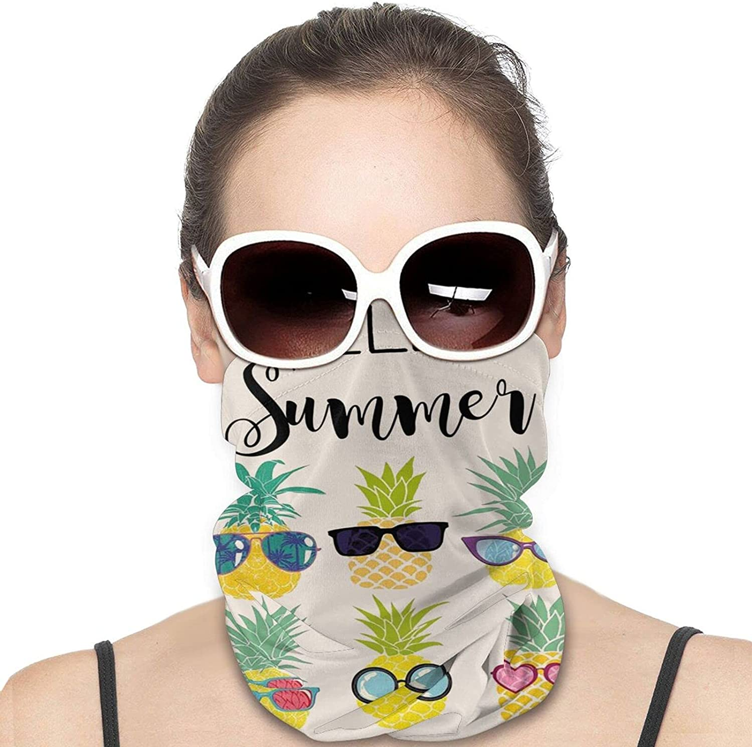 Hello Summer Pineapple with Sunglasses Round Neck Gaiter Bandnas Face Cover Uv Protection Prevent bask in Ice Scarf Headbands Perfect for Motorcycle Cycling Running Festival Raves Outdoors