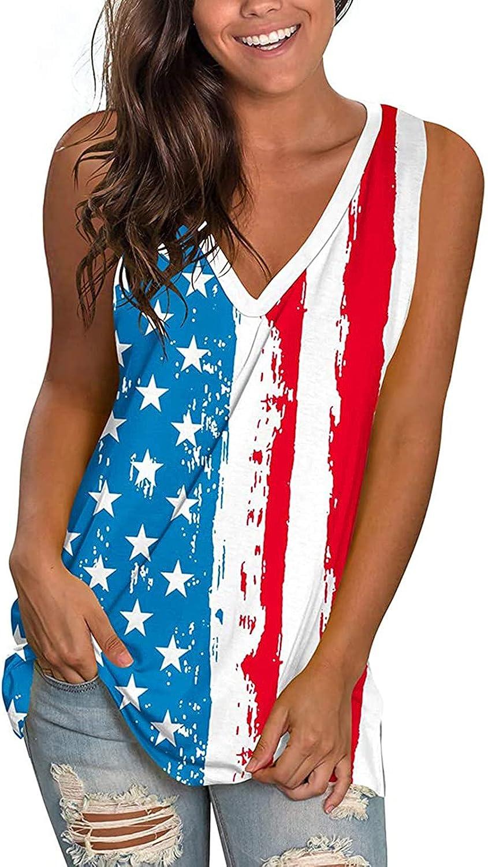 Summer T Shirts Women V-Neck Tank Sleeveless Independence Day Printing Vest Side Split Tops