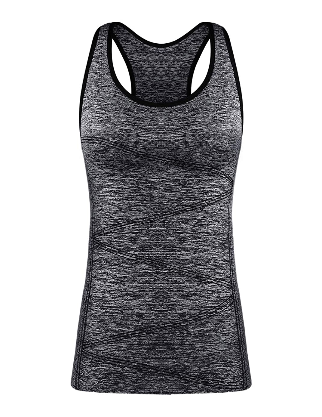 Yoga Tank Tops for Women, Stretchy Sleeveless Shirt Workout Running Tops with Removable Bra Pads