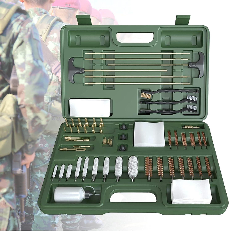 ZPCSAWA Universal Gun Kits de Limpieza para Rifle Airsoft Pistola Caza Tiro Limpieza cepillos Conjunto con Caja de Aluminio