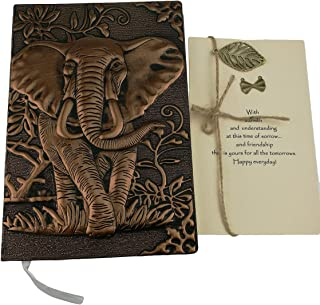Personalized Handmade 3D Embossed Leather Retro Elephant Pattern Daily Planner Travel Journal Notebook With Greeting Card For Study Birthday Christmas Friends Family Dad Business Gift (Red Copper)