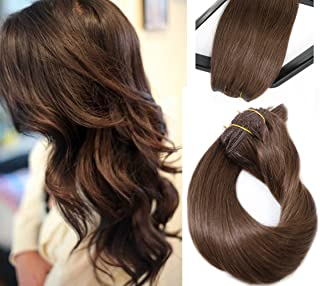 Clip in Hair Extensions Medium Brown Real Hair 7 Pieces 70g Silky Straight Weft Remy Human Hair (18 inches, 4)