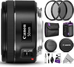 Canon EF 50mm f/1.8 STM Lens w/Essential Photo Bundle -...