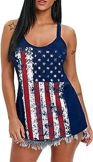 Respctful✿Women's Sleeveless Bodycon Tanks Flag Print Tee Shirts USA Flag Tank Tops Blouse Tee Shirts