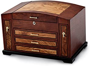 Saris and Things Bubinga Veneer w/Elm Burl Inlay 3 Drawer with Slide-Out Sides Jewelry Box