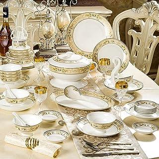 YANJ Service de Vaisselle en céramique avec 48 pièces, Bol/Plat/cuillère | Ensembles de Vaisselle en Porcelaine d'os, Ense...