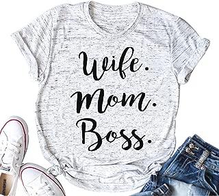 Women Wife Mom Boss T Shirt Women Funny Short Sleeve Top