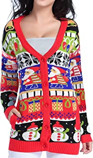 Ugly Christmas Sweater for Women Vintage Funny Merry Knit Cardigan Sweaters