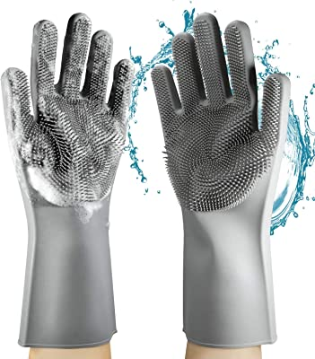 AARIV INTERNATIONAL Silicone Gloves Dishwashing Scrubber Sponge - Premium Set 1 Pair Rubber Scrubbing GlovesReusable
