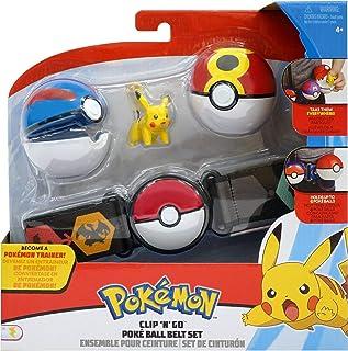 WCT - 97776 - Cinturón con Soporte de Bola Clip 'n' Go de Pokemon con Figura Pikachu de 4 cm y 2 Pokeball Azul y Rojo Original Oficial Wave 4