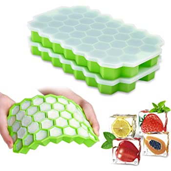 Ice Cube Trays with Lids,2-Pack 74 Ice Cubes Silica Gel Flexible and BPA Free with Spill-Resistant Removable Lid Ice Cube Molds for Chilled Drinks, Whiskey & Cocktails
