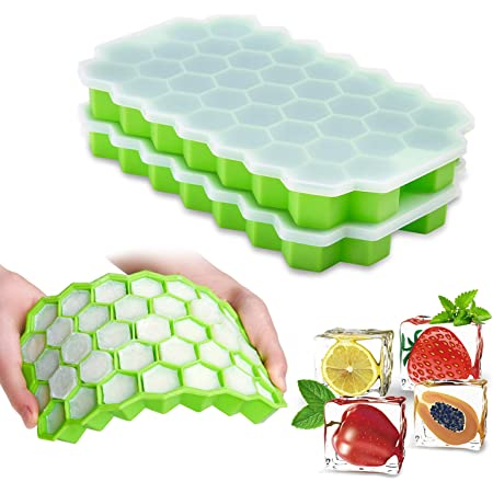 Ice Cube Trays with Lids,2-Pack 74 Ice Cubes Silica Gel Flexible and BPA Free with Removable Lid Ice Cube Trays for Chilled Drinks, Whiskey & Cocktails