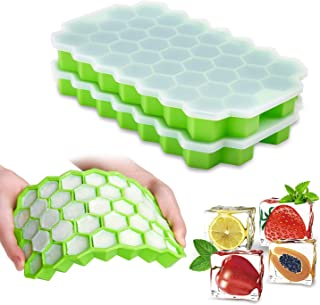 Ice Cube Trays with Lids,2-Pack 74 Ice Cubes Silica Gel Flexible and BPA Free with..