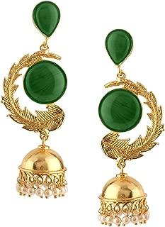 Indian Bollywood 14K Gold Plated Crystal Kundan Pearl Leaf Style Jhumka Jhumki Earrings Jewelry Set