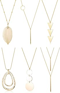 FUNRUN JEWELRY 6PCS Long Pendant Necklace Set Bar Circle Leaf Y Necklace Arrow Statement Necklace for Women