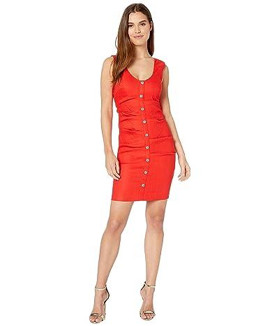 Nicole Miller Button Down Tuck Dress (Cherry Red) Women