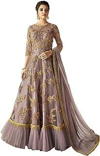 Comet Enterprise Women's Butterfly Net Anarkali Gown (Light Pink; Free Size)