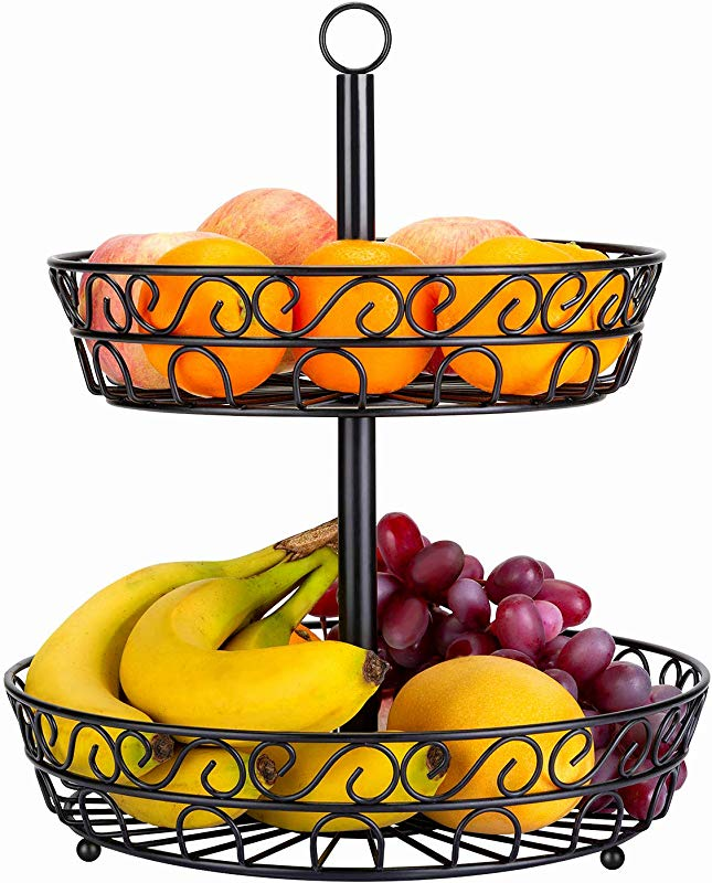 LOMOFI Tabletop 2 Tier Countertop Fruit Basket Stand Round Metal Standing Baskets