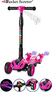 The Original Rocket Scooter, Kids Kick Scooter, Music, 3 Colors Lighted Wheels, Spray Lights, Sturdy Steering Handlebar, Stable Board, Adjustable Height & Foldable Design