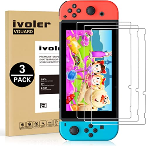 [3 Pack] Screen Protector Tempered Glass for Nintendo Switch, iVoler Transparent HD Clear Anti-Scratch Screen Protect...