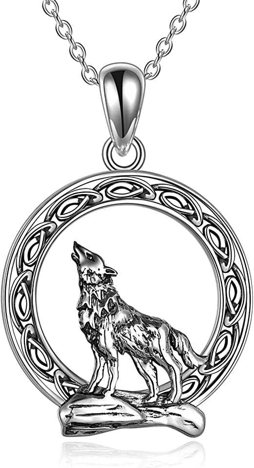 YFN Wolf Pendant Necklace 925 Sterling Silver Cubic Zirconial Wolf Moon Necklace 18 Birthday Day Jewelry for Girlfriend Wife