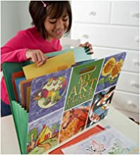 HearthSong My My Art Place Portfolio with Handles- 8 Expandable Coded Accordion Files for Organizing Children's Artwork-19 H x 15.25 W, Multi-Colored