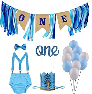 GUCHOL Baby Boys First Birthday Cake Smash Outfit with Bloomers Pants Sparkle Crown Hat Suspenders Bow Tie Set