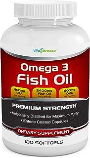 Omega 3 Fish Oil Supplement (180 Softgels) - 2400mg Triple Strength Fish Oil with 800mg EPA & 600mg DHA Omega-3 Fatty Acid...