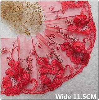 Aqiong KAERMA 11.5CM Breite Elegante Ehe Red Glitter Goldstickerei-Band Mesh-Spitze Guipure Stoff Brautkleid Stoff DIY Nähzubehör Hauptband Size : 11.5CM