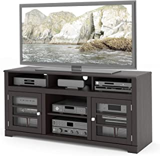 Deluxe Premium Collection West Lake TV Stand Component Bench Media Storage Unit in Mocha Black for TV Up to 68