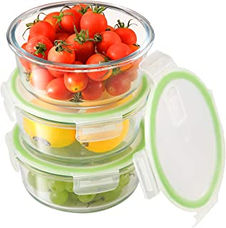 Round Glass Meal Prep Containers[3-Pack, 32oz],Airtight Glass lunch Containers with Lids,Glass Food Storage Containers BPA-Free,Microwave, Oven, Freezer, Dishwasher Safe