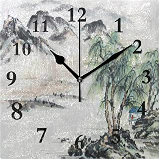 FunnyCustom Chinese Landscape Mountain Tree Square Wall Clock 7.8 Inch Hanging Clock for Living Room/Kitchen/Bedroom