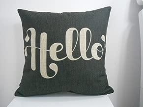 Decorbox Cotton Linen Square Fashion Throw Pillow Case Shell Decorative Cushion Cover Pillowcase Black White Hello 18 X18
