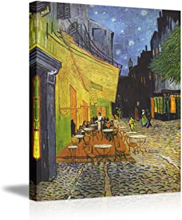 Canvas Wall Art by Van Gogh- Cafe Terrace at Night Stretched Cityscape Oil Painting on Canvas Framed Picture Gallery Wrapped for Living Room Bedroom Dining Room Kitchen Office Home Decor-28×20