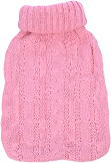 TRIXES Knitted Cover for Hot Water Bottle - Pink Knitted Insulator - Cover only (Hot Water Bottle not Included)