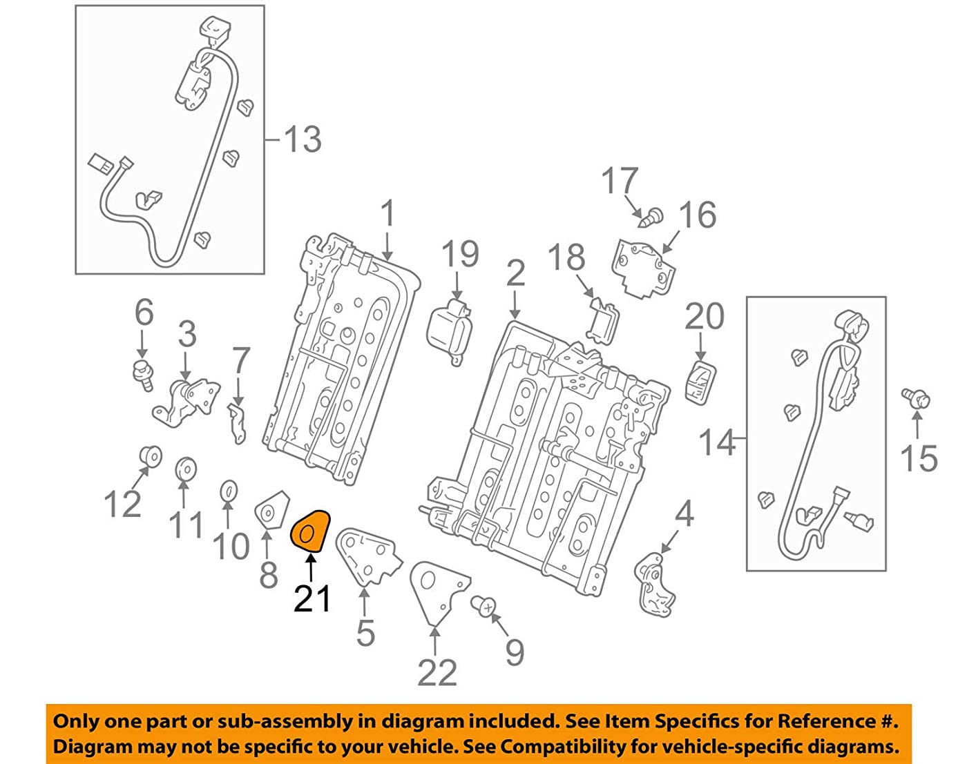 Genuine Honda 82293-TP6-A01ZD Right Rear Seat Center Pivot Cover