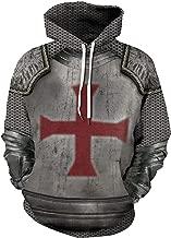 Hacos Knights Templar Hoodie Crusader Cross Pullover Jacket Vintage Medieval Knight Sweater Sweatshirt