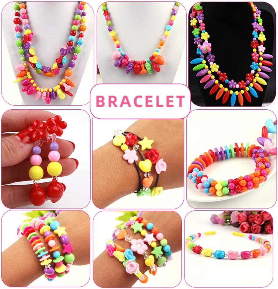 Ldawy Children DIY Bead Set Plastic Beads Colourful Pop Beads for Making Necklace Bracelet Ring Art Craft Jewellery Making Beadwork Kits Creativity Toys for Kids Girls 500pcs