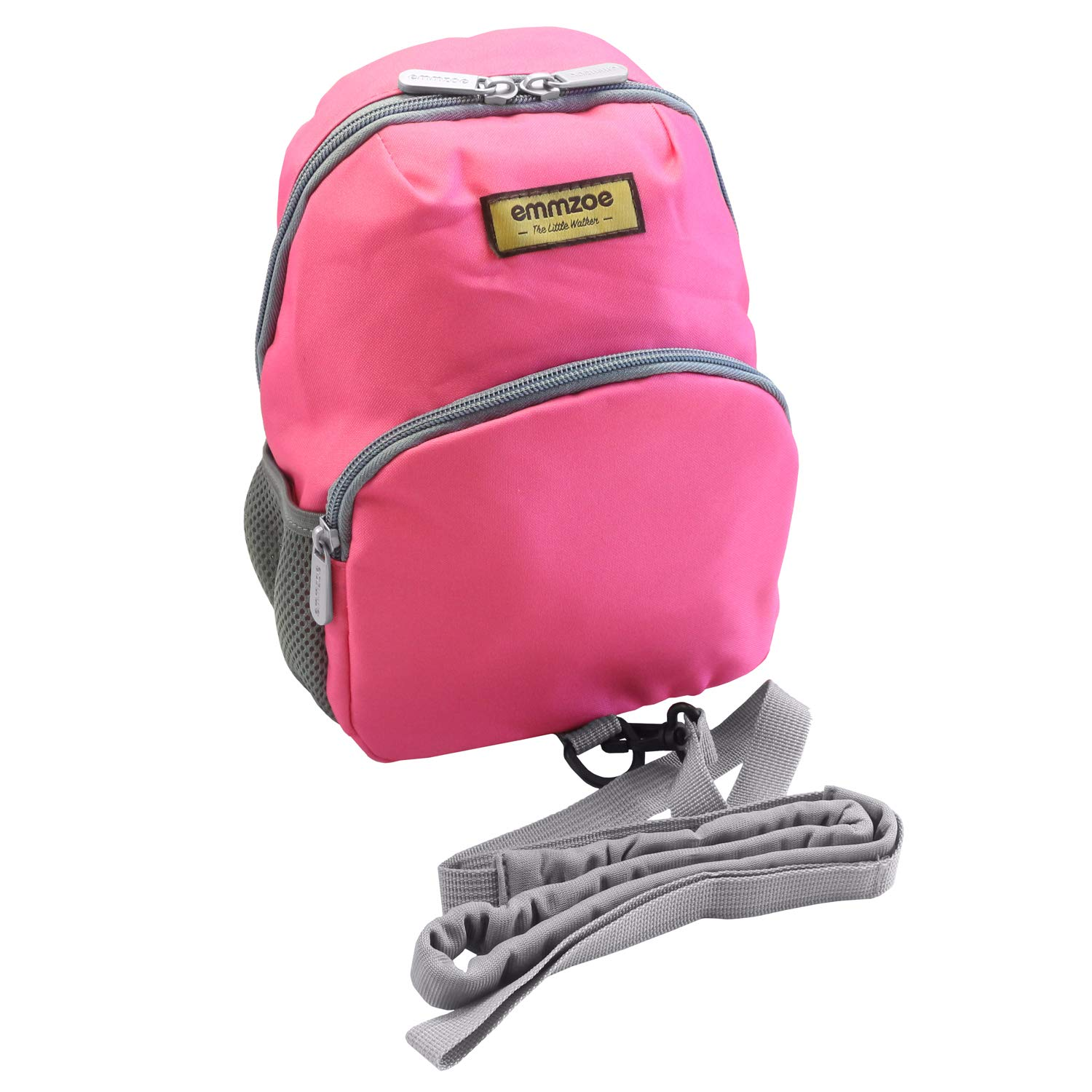 Emmzoe Little Walker Neon Toddler Backpack with Safety Harness Leash - Lightweight Fits Snacks, Food, Toys (Neon Pink)