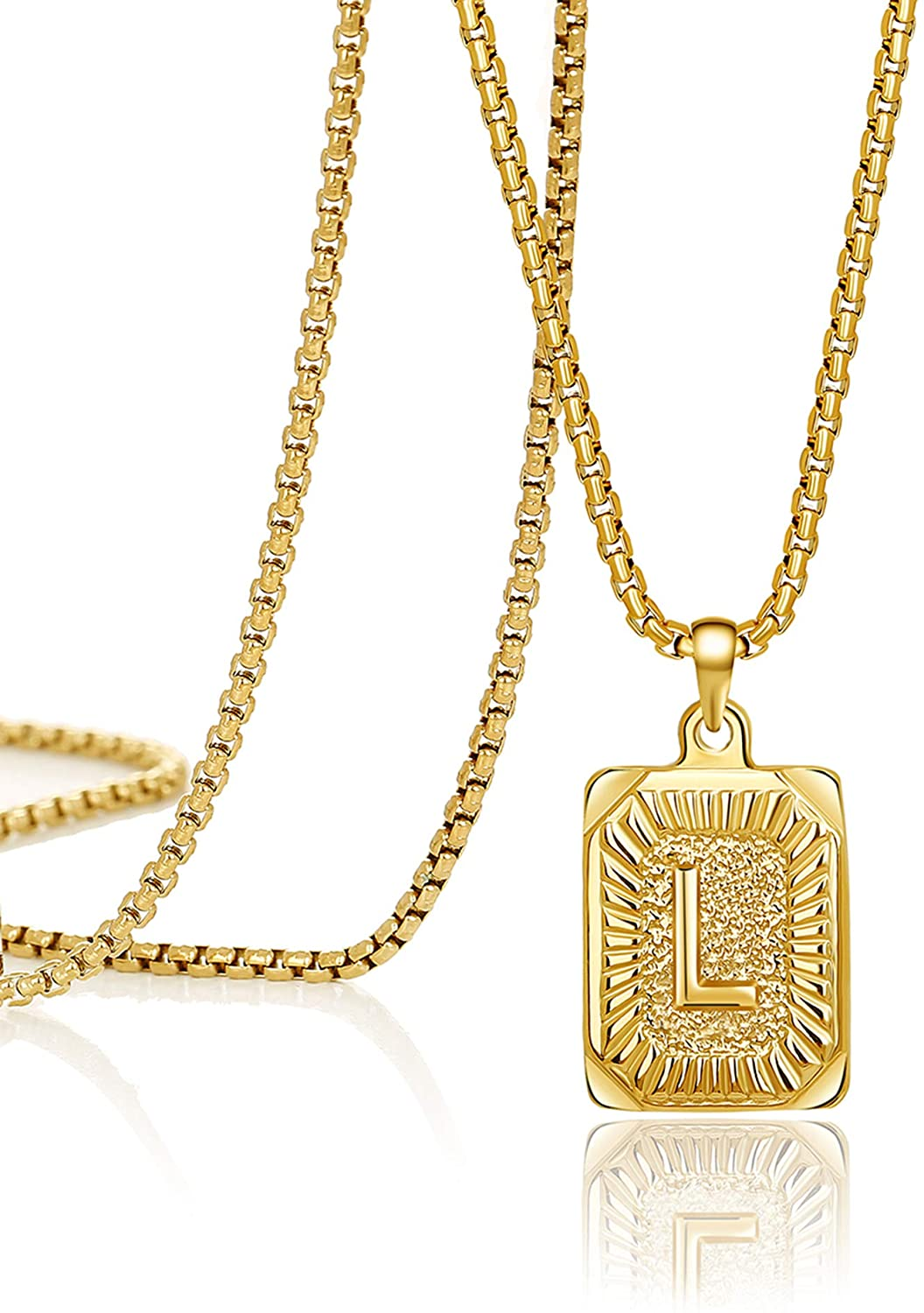 JoycuFF 18K Gold Filled Initial Capital Letter Pendant Necklace Square Alphabet Rectangle Medallion Personalized Handmade Stainless Steel Simple Jewelry Gifts for Women Men Teenagers Best Friends