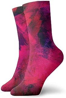 tyui7, Calcetines de compresión antideslizantes de superficie de textura de pintura roja Calcetines deportivos de 30 cm acogedores para hombres, mujeres y niños
