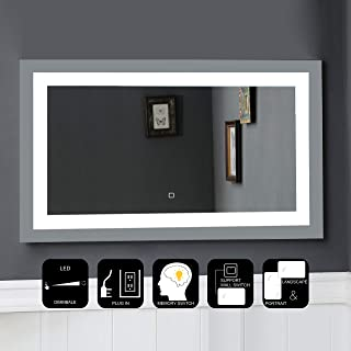 JOVOL Dimmable LED Lighted Bathroom Mirror\ Wall Mounted Vanity Mirror with High Lumen CRI>90 Dimmable Touch Button Vertical & Horizontal Installation (Atlantis-4024 40x24 inch)