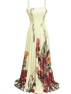 Women Floral Plus Size Maxi Dress Casual Long Sexy Summer Hawaiian White Peacock Sleeveless Sundress