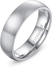 TIGRADE 4mm 6mm 8mm Titanium Ring Brushed Dome Wedding Band Comfort Fit Size 4-14.5