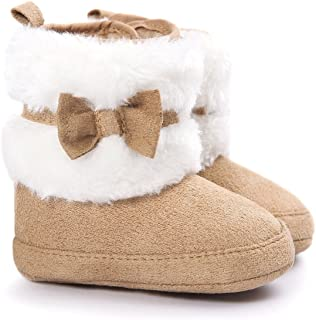 LIVEBOX Baby Girls' Premium Soft Sole Bow Anti-Slip Mid Calf Warm Winter Infant Prewalker Toddler Snow Boots Khaki